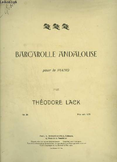 BARCAROLLE ANDALOUSE - POUR LE PIANO.