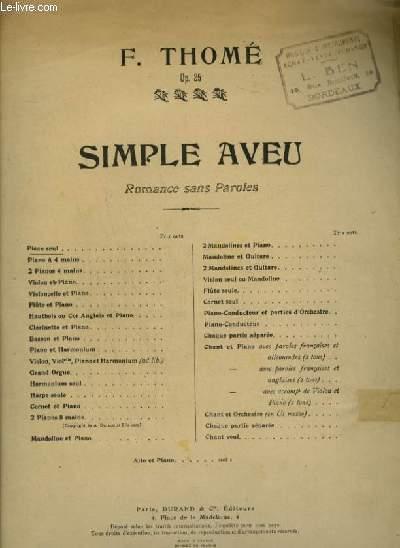 SIMPLE AVEU - ROMANCE SANS PAROLES POUR PIANO.