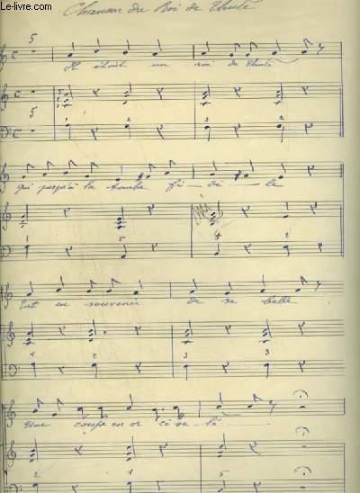 PARTITION MANUSCRITE : CHANSON DU ROI DE THULE - PIANO ET CHANT.