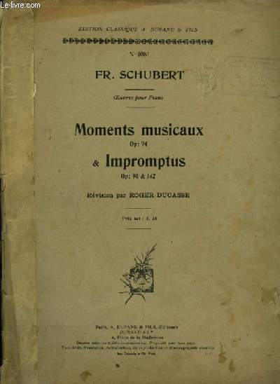 MOMENTS MUSICAUX & IMPROMTUS - PIANO OP.94,90 & 142.