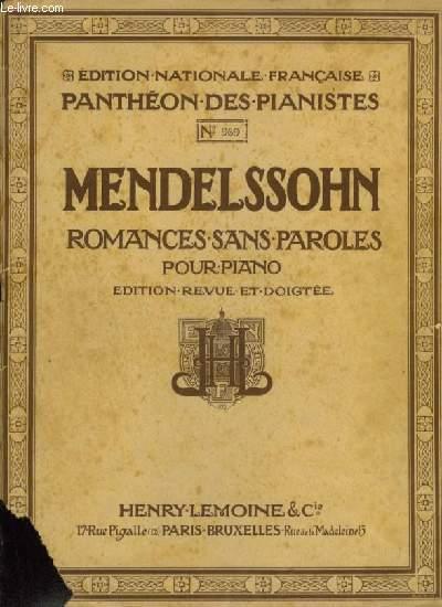 ROMANCES SANS PAROLES POUR PIANO - 1° RECUEIL.