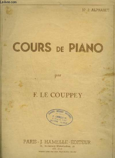cours de piano n 2 alphabet le couppey f. Black Bedroom Furniture Sets. Home Design Ideas