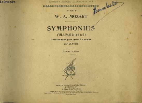 SYMPHONIES - VOLUME 2 : DE 4 A 6 - POUR PIANO A 4 MAINS.