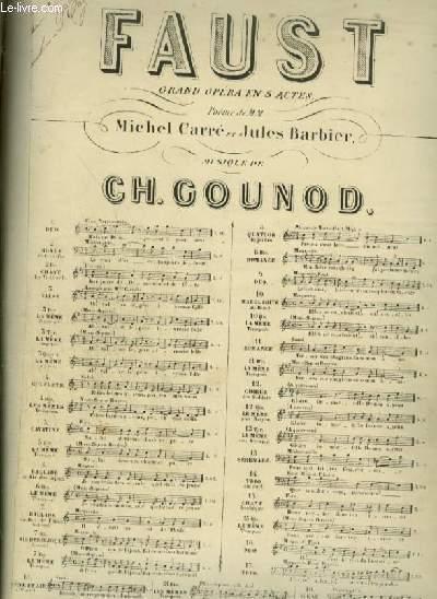 FAUST - OPERA EN 5 ACTES N° 6 : BALLADE DU ROI DE THULE ET AIR DES BIJOUX -  POUR PIANO ET CHANT (MARGUERITE) AVEC PAROLES.