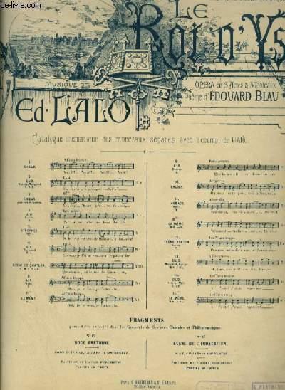 LE ROI D'YS - N°11 BIS : AUBADE - POUR PIANO ET CHANT (MYLIO) AVEC PAROLES.
