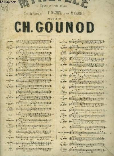 MIREILLE - OPERA EN 3 ACTES N° 3 TER : CHANSON DE MAGALI POUR PIANO ET CHANT A 1 VOIX AVEC PAROLES.