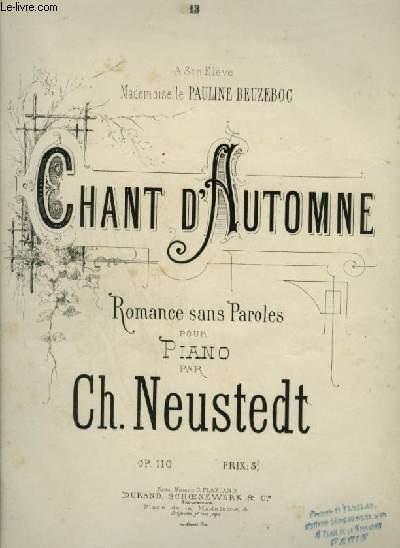 CHANT D'AUTOMNE - ROMANCE SANS PAROLES POUR PIANO.