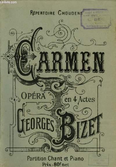 CARMEN - OPERA EN 4 ACTES - PIANO ET CHANT.
