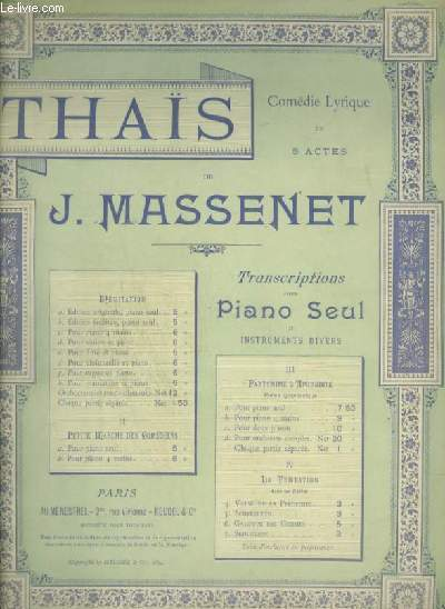 THAIS - N°1 : MEDITATION- POUR PIANO SEUL.
