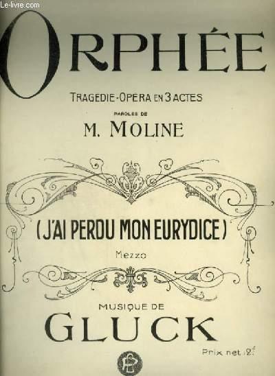 ORPHEE N°12 : J'AI PERDU MON EURYDICE - AIR POUR PIANO ET CHANT (ORPHEE) AVEC PAROLES.