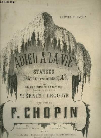 ADIEU A LA VIE - POUR PIANO ET CHANT AVEC PAROLES.