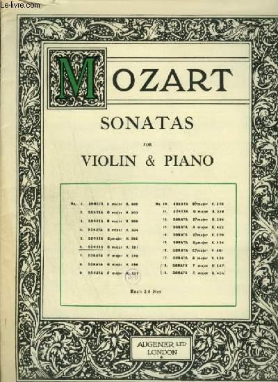 SANATAS FOR VIOLIN & PIANO - N°6 : SONATA G MAJOR - K.301.