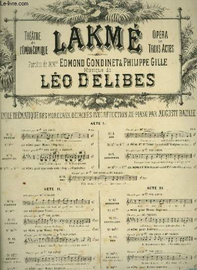 LAKME - N°5 : STROPHES POUR PIANO ET CHANT AVEC PAROLES.