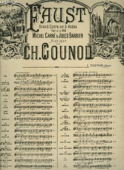 FAUST - N°19 : SCENE DE L'EGLISE - POUR PIANO ET CHANT AVEC PAROLES.