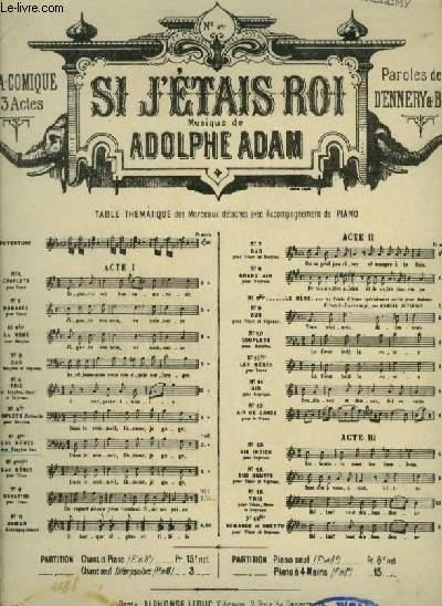SI J'ETAIS ROI - N°4 TER : POUR PIANO ET CHANTPOUR VOIX DE BARYTON BAS AVEC PAROLES.