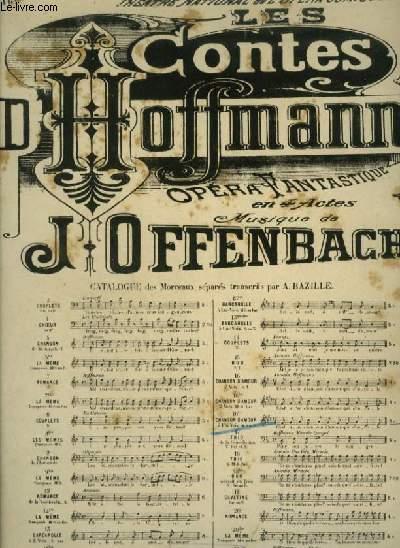 CONTES D'HOFFMANN - N°16 TER : CHANSON D'AMOUR - POUR PIANO ET CHANT MEZZO SOPRANO OU BARYTON AVEC PAROLES.