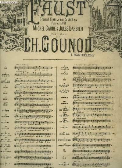 FAUST - N°12 : CHOEUR DES SOLDATS - POUR PIANO ET CHANT A 4 VOIX AVEC PAROLES.