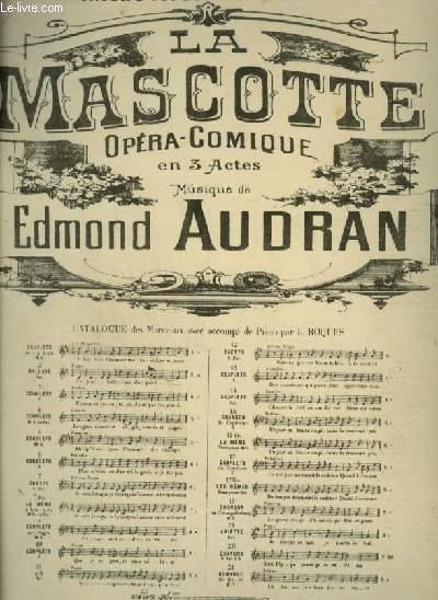 LA MASCOTTE - N°7 : POUR PIANO ET CHANT AVEC PAROLES.