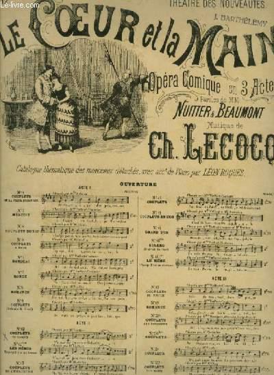 LE COEUR SUR LA MAIN - N°12 : POUR PIANO ET CHANT (GAETAN) AVEC PAROLES.