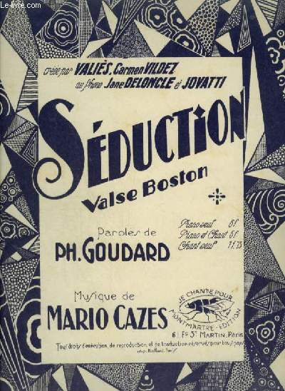 SEDUCTION - VALSE BOSTON POUR PIANO ET CHANT AVEC PAROLES.