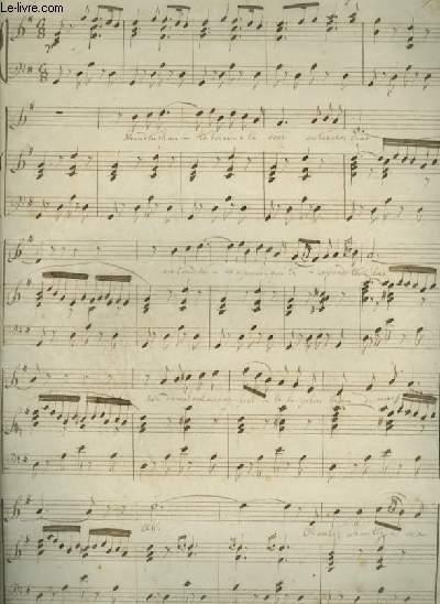 PARTITION MANUSCRITE : SERENADE - POUR PIANO ET CHANT AVEC PAROLES.