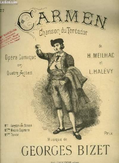 CARMEN - N°7 : CHANSON DU TOREADOR POUR PIANO ET CHANT BARYTON OU BASSE AVEC PAROLES.