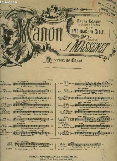 MANON - N°4 : DUO DE LA RENCONTRE - POUR PIANO ET CHANT A 2 VOIX (MANON + DES GRIEUX) AVEC PAROLES.