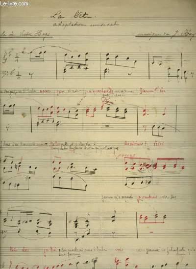 PARTITION MANUSCRITE : LA BETE - ADAPTATION MUSICALE POUR PIANO AVEC PAROLES.