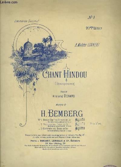 CHANT HINDOU - N°1 : POUR PIANO ET CHANT MEZZO SOPRANO OU BARYTON AVEC PAROLES.