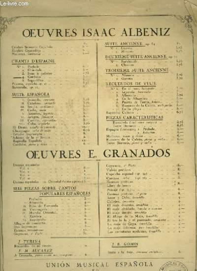 CHANTS D'ESPAGNE - N° 4 : CORDOBA - OP.232 POUR PIANO.