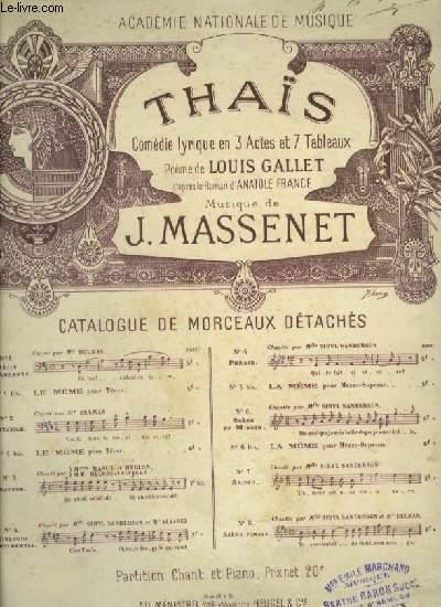THAIS - N°5 : PHRASES - POUR PIANO ET CHANT AVEC PAROLES.