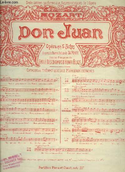 DON JUAN - N°15 : SERENADE POUR PIANO ET CHANT AVEC PAROLES.