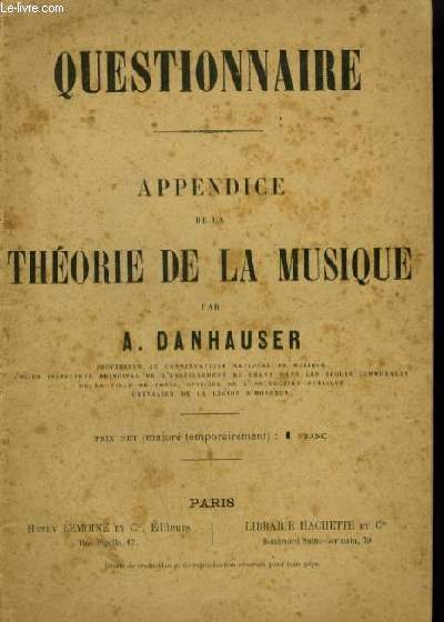 QUESTIONNAIRE - APPENDICE DE LA THEORIE DE LA MUSIQUE