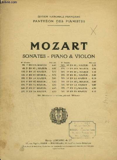 SONATES POUR PIANO ET VIOLON : 10° SONATE.