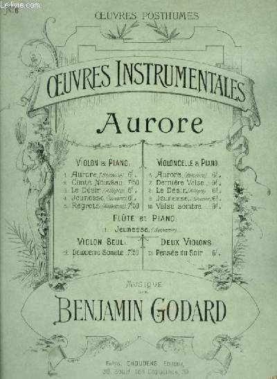 AURORE - N°6 : POUR PIANO ET VIOLONCELLE.