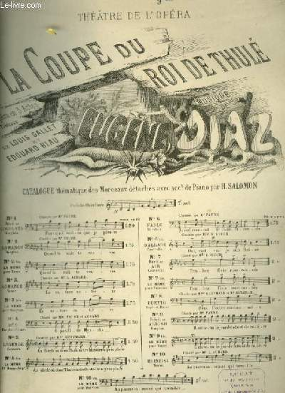 LA COUPE DU ROI DE THULE - N°9 BIS : AIR POUR PIANO ET CHANT AVEC PAROLES.