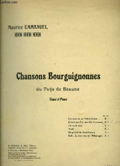 CHANSONS BOURGUIGNONNES DU PAYS DE BEAUNE : IL ETAIT UNE FILLE, UNE FILLE D'HONNEUR - SANTOSSE (XVIII° SIECLE) POUR PIANO ET CHANT AVEC PAROLES.