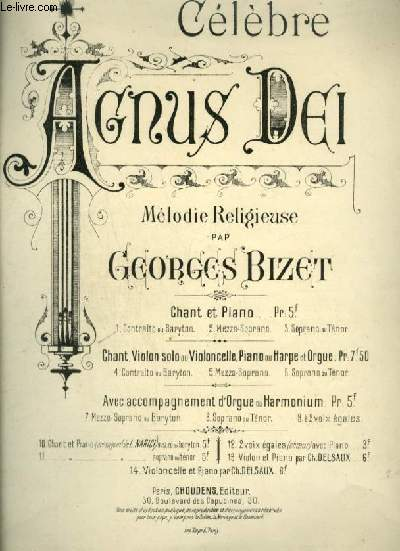 CELEBRE AGNUS DEI - MELODIE RELIGIEUSE POUR PIANO OU ORGUE + CHANT CONTRALTO OU BARYTON AVEC PAROLES.
