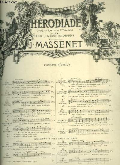HERODIADE - N°6 : AIR D'HERODE - POUR PIANO ET CHANT BARYTON AVEC PAROLES.