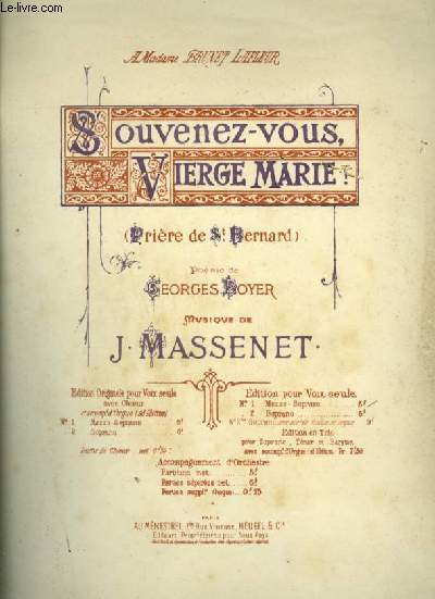 SOUVENEZ VOUS, VIERGE MARIE ! - PRIERE DE ST BERNARD - POUR PIANO ET CHANT MEZZO SOPRANO A VOIX SEULE AVEC PAROLES.