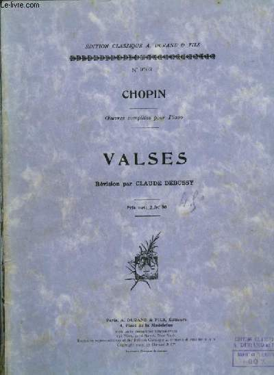 VALSES - OEUVRES COMPLETES POUR PIANO.
