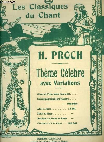 THEME AVEC VARIATIONS - POUR PIANO ET CHANT AVEC PAROLES FRANCAISES + ITALIENNES.
