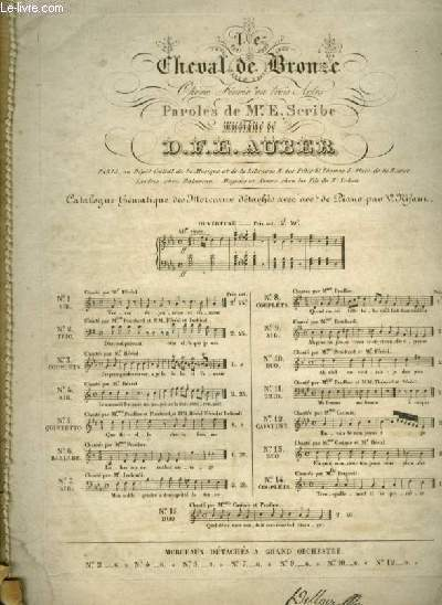 LE CHEVL DE BRONZE - N°8 : POUR PIANO ET CHANT AVEC PAROLES.
