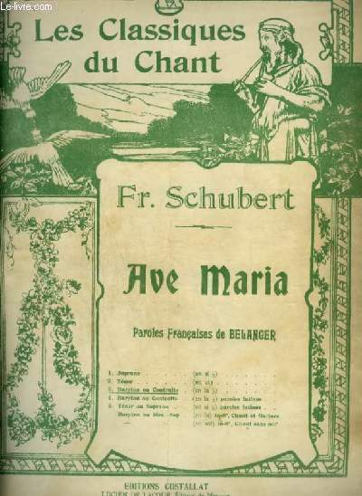 AVE MARIA - POUR PIANO ET CHANT BARYTON OU CONTRALTO AVEC PAROLES.