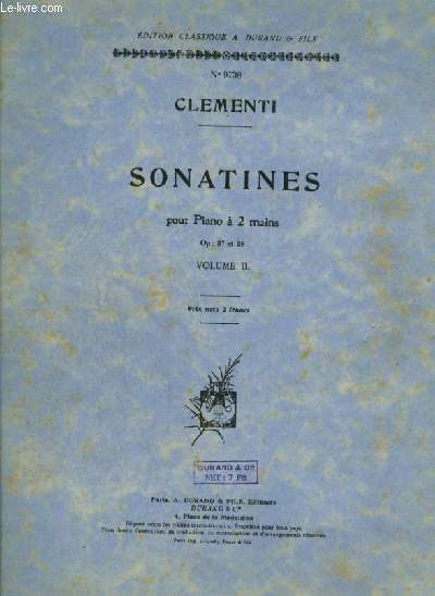 SONATINES POUR PIANO A 2 MAINS - VOLUME 2.