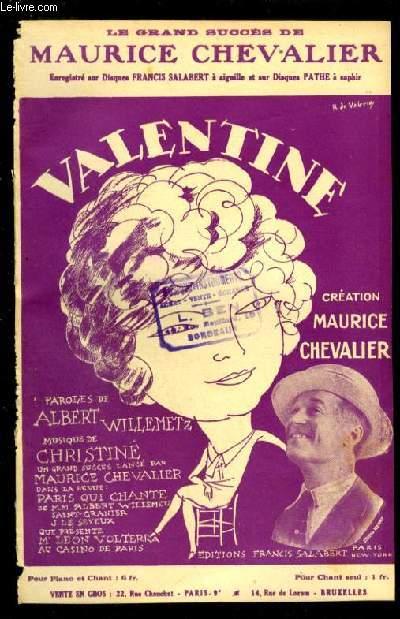 VALENTINE - PARTITION POUR CHANT AVEC PAROLES.