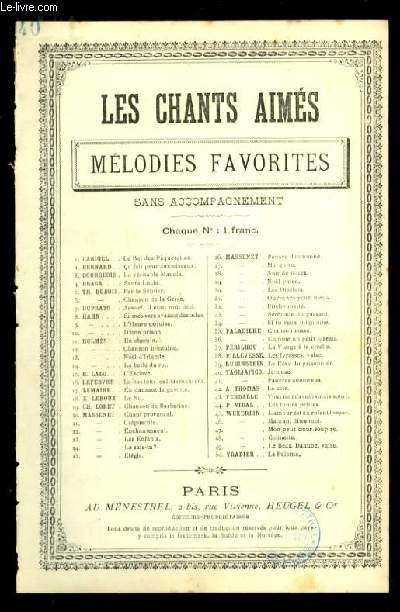 JE N'OSE - LES CHANTS AIMES / MELODIES FAVORITES - N°40 - POUR CHANT AVEC PAROLES.