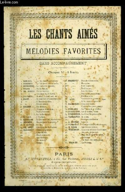 SERENADE DU PASSANT - LES CHANTS AIMES / MELODIES FAVORITES - N°33 - POUR CHANT AVEC PAROLES.