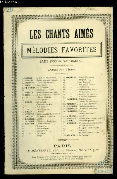 NOEL PAIEN - LES CHANTS AIMES / MELODIES FAVORITES - N°29 - POUR CHANT AVEC PAROLES.
