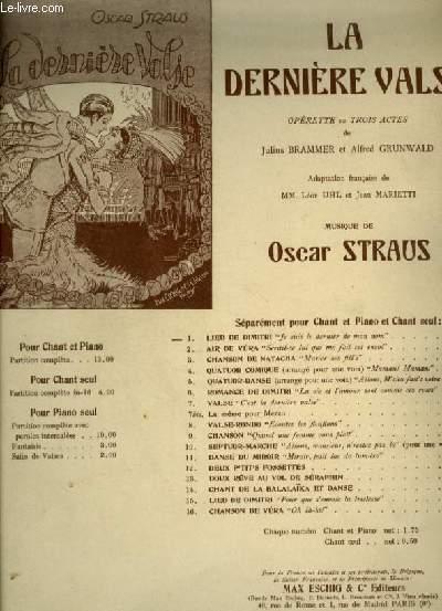 LA DERNIERE VALSE - N°1 : LIED DE DIMITRI - POUR PIANO ET CHANT AVEC PAROLES.
